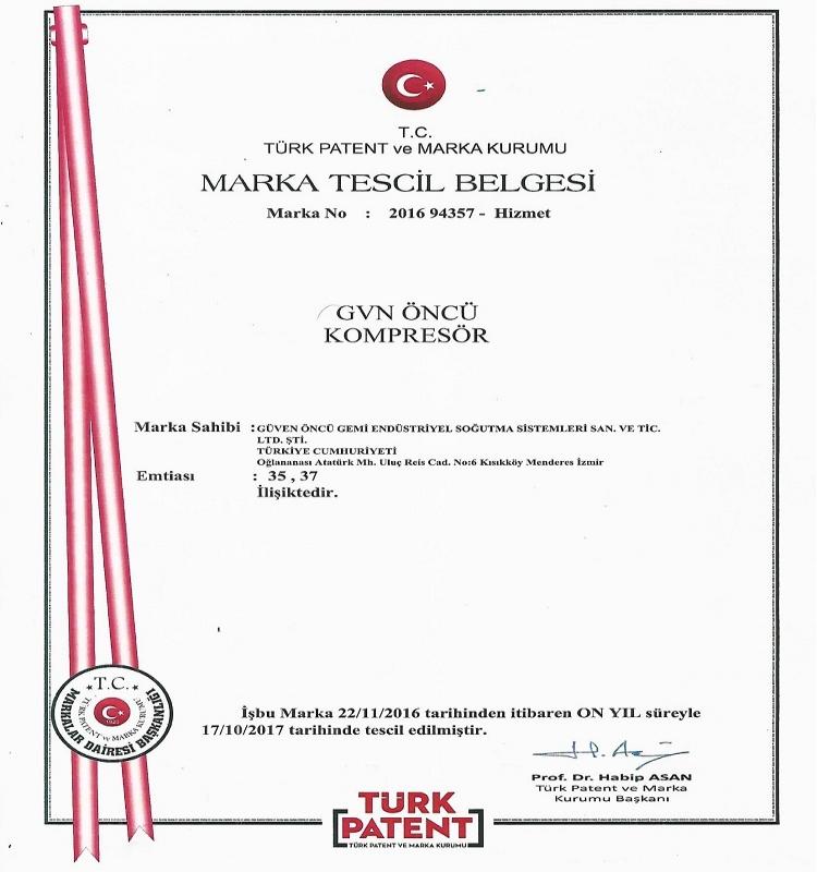 GVN KOMPRESÖR  MARKA TESCİL BELGESİ